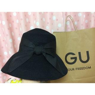 ジーユー(GU)の【取引中】【中古】GU 2020年 黒リボン 麦わら帽子(ザツザイハット)黒(麦わら帽子/ストローハット)