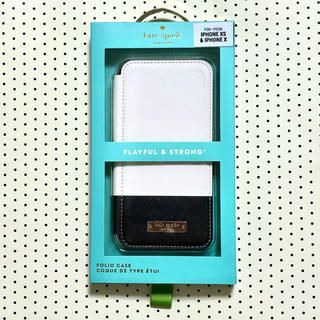ケイトスペードニューヨーク(kate spade new york)のケイトスペード iPhone XS/X フォリオ カラーブロックセメントブラック(iPhoneケース)