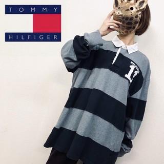 トミーヒルフィガー(TOMMY HILFIGER)の90s【トミー ヒルフィガー 長袖ラガーシャツ】ボーダー 2XL(ポロシャツ)