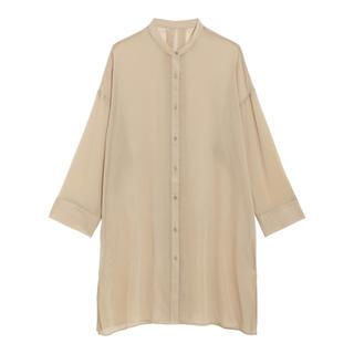 GU - GU シアーバンドカラーロングシャツ ベージュ