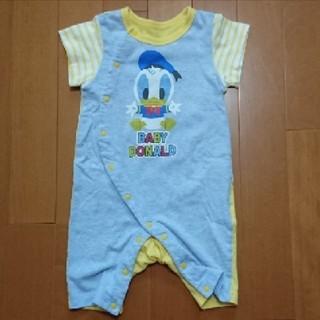 Disney - 新生児 Disney 半袖 ロンパース 60~70 ドナルド 青 黄色