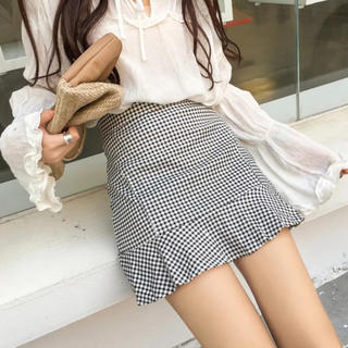 新品】ギンガムチェック Aラインスカート 黒 白 S〜M 韓国ファッション(ミニスカート)