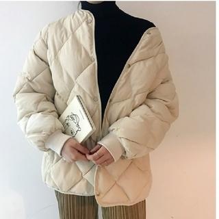 dholic - キルティング ノーカラー ジャケット コート 【2color】