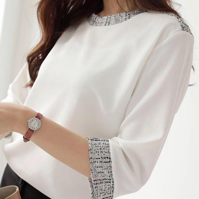 dholic(ディーホリック)のd holic ツイード配色Tシャツ レディースのトップス(シャツ/ブラウス(長袖/七分))の商品写真