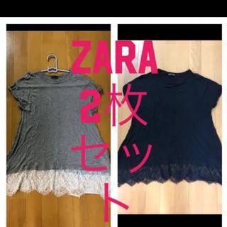 ザラ(ZARA)の大人気♡ZARA☆レース付きチュニックTシャツ二枚セット(Tシャツ(半袖/袖なし))