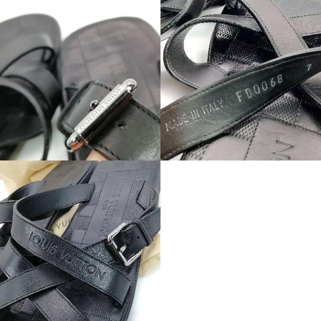 LOUIS VUITTON(ルイヴィトン)の希少 良品 ヴィトン ブラック レザー ダミエ サンダル LI85 メンズの靴/シューズ(サンダル)の商品写真