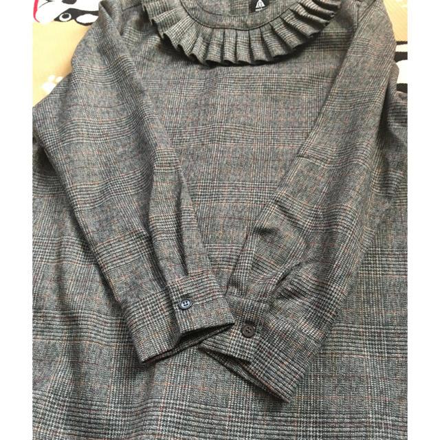 merlot(メルロー)のチェックブラウス 厚手 フリーサイズ レディースのトップス(シャツ/ブラウス(長袖/七分))の商品写真