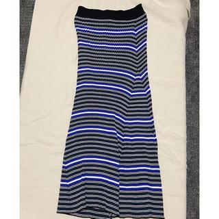 ルシェルブルー(LE CIEL BLEU)のマルチボーダーニットスカート (ロングスカート)