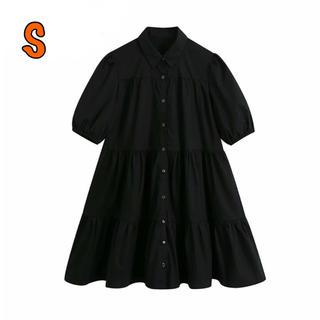 ZARA - SALE S フレアワンピース  シャツワンピース ブラック 黒 ZARA ザラ