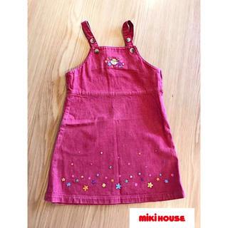 ミキハウス(mikihouse)のミキハウス☆ジャンパースカート 110cm☆ ワンピース 赤デニム 刺繍 レトロ(スカート)