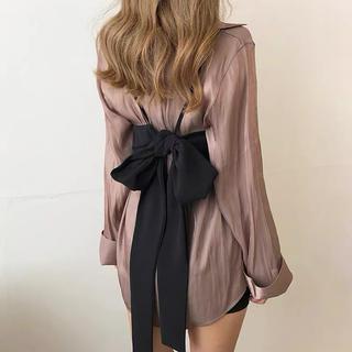 GRL - ブラウス. ビスチェセットアップ 韓国ファッション シアーシャツ リボンビスチェ