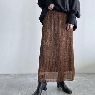 ジーナシス(JEANASIS)のJEANASIS シャイニープリーツナロースカート ブラウン(ロングスカート)