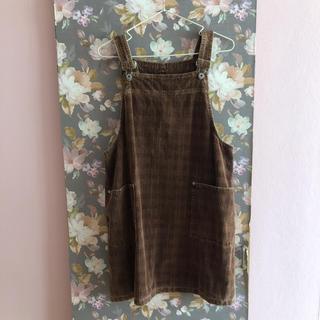 ダブルクローゼット(w closet)のブラウンチェック コーデュロイのサロペットスカート(ひざ丈ワンピース)