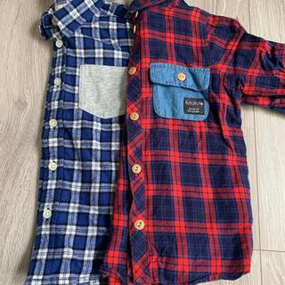 フタフタ(futafuta)の男の子/秋冬/GU/futafuta/チェックシャツ まとめ売り 110cm(Tシャツ/カットソー)