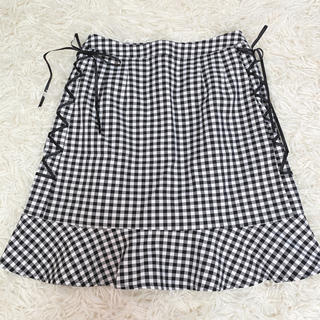 evelyn - エブリン 編み上げリボン チェックスカート