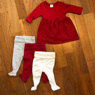 エイチアンドエム(H&M)のH&M ベビー服 ワンピース+足付きレギンス3着セット(ワンピース)