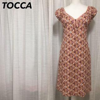トッカ(TOCCA)のシルク100%トッカ リボン 花柄 総刺繍 フレンチスリーブ ワンピース(ひざ丈ワンピース)
