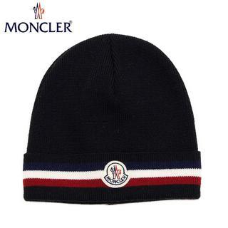 モンクレール(MONCLER)の38 MONCLER 男女兼用 ブラック トリコロール ニットキャップ(ニット帽/ビーニー)