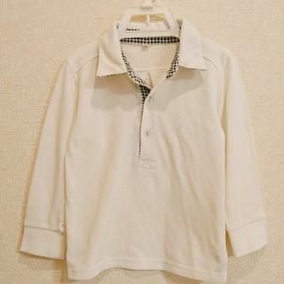 100cm☆長袖ポロシャツ☆千鳥格子(Tシャツ/カットソー)