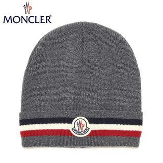 モンクレール(MONCLER)の39 MONCLER 男女兼用 グレー トリコロール ニットキャップ(ニット帽/ビーニー)
