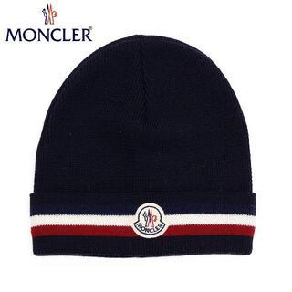 モンクレール(MONCLER)の40 MONCLER 男女兼用 ネイビー トリコロール ニットキャップ(ニット帽/ビーニー)