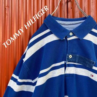 トミーヒルフィガー(TOMMY HILFIGER)の☆定番☆トミーヒルフィガー☆ワンポイント刺繍ロゴ☆ボーダー☆長袖ラガーシャツ(ポロシャツ)