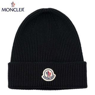 モンクレール(MONCLER)の43 MONCLER 男女兼用 ブラック ニットキャップ ニット帽(ニット帽/ビーニー)
