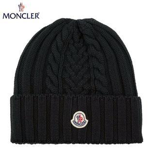 モンクレール(MONCLER)の45 MONCLER 男女兼用 ケーブル編み ブラック ニットキャップ(ニット帽/ビーニー)