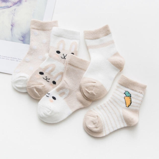 ベビー靴下 ソックス カーキー 5足セット 赤ちゃん 涼しい 春夏用 メッシュ
