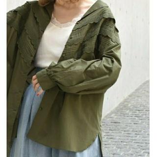ダブルクローゼット(w closet)のw closet ピンタックレース開襟ビッグシャツ(シャツ/ブラウス(長袖/七分))