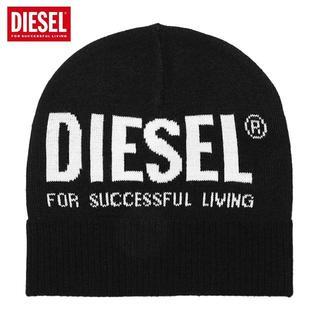ディーゼル(DIESEL)の1 DIESEL K BECKY C ロゴ ブラック ニットキャップ男女兼用(ニット帽/ビーニー)