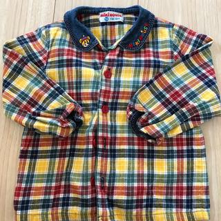 値下げ!! ミキハウス チェックシャツ 90cm 丸襟(Tシャツ/カットソー)