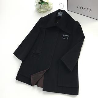 フォクシー(FOXEY)の【美品】FOXEY フォクシー カシミヤ100% 女優襟 ブラック コート(ロングコート)
