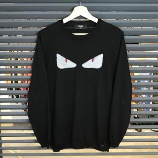 フェンディ(FENDI)の超美品 フェンディ モンスター 長袖ニット クルーネック セーター 黒 50 L(ニット/セーター)