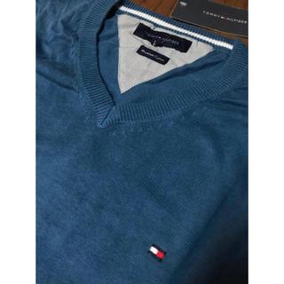 トミーヒルフィガー(TOMMY HILFIGER)のトミーヒルフィガー Lサイズ 新品未使用 コットン セーター ニット Vネック (ニット/セーター)
