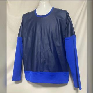 イッセイミヤケ(ISSEY MIYAKE)のISSEY MIYAKE MEN ラミネートカットソー 2 M ブルー 青(Tシャツ/カットソー(七分/長袖))