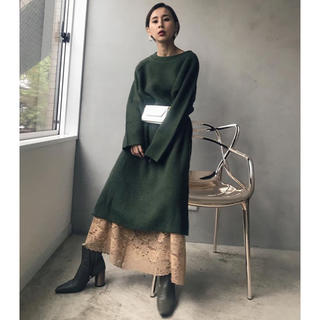 Ameri VINTAGE - 美品 Ameri vintag ジッパーレースニットドレス