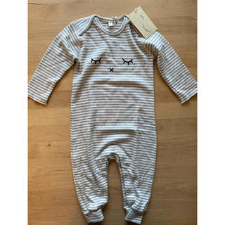 キャラメルベビー&チャイルド(Caramel baby&child )の新品 organic zoo ストライプ柄ロンパース 6-12M(ロンパース)