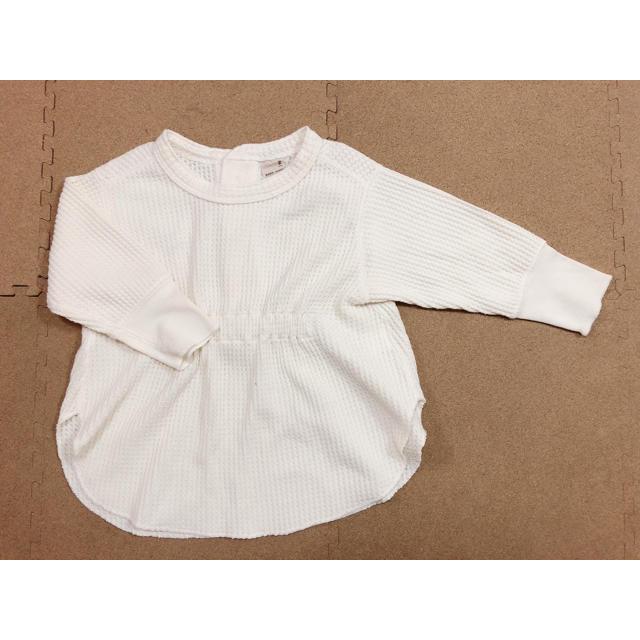petit main(プティマイン)のプティマイン:ワッフルギャザーチュニック キッズ/ベビー/マタニティのキッズ服女の子用(90cm~)(Tシャツ/カットソー)の商品写真