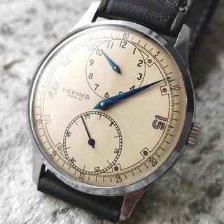 エルメス(Hermes)のOH済 エルメス HERMES レギュレーター 青針 手巻き  ベージュ文字盤(腕時計(アナログ))