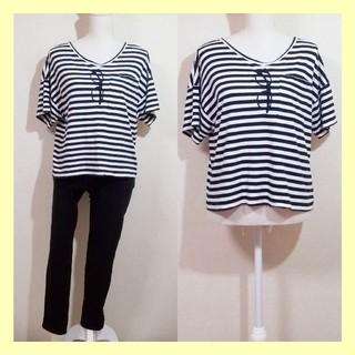 ダブルクローゼット(w closet)のw closet ダブルクローゼット メガネ刺繍VネックボーダーTシャツ(Tシャツ(半袖/袖なし))