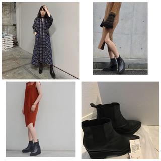 マメ(mame)のmame kurogouchi レザーブーツ 黒 Mサイズ(ブーツ)