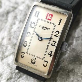エルメス(Hermes)の【高級 OH済】エルメス HERMES レクタンギュラー 手巻き 青針 スクエア(腕時計(アナログ))