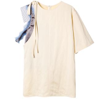 ルシェルブルー(LE CIEL BLEU)の☆定価3.8万・新品タグ付き IRENE ハイブリッドTシャツ 36 アイボリー(シャツ/ブラウス(長袖/七分))