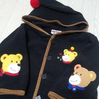 ミキハウス(mikihouse)のオールド レトロ ミキハウス クマ ワッペン とんがりフード ジャンパー 90(ジャケット/上着)