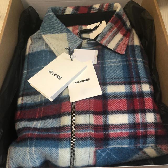 PEACEMINUSONE(ピースマイナスワン)のWe11Done CHECK SHIRT JACKET 青 BLUE メンズのトップス(シャツ)の商品写真