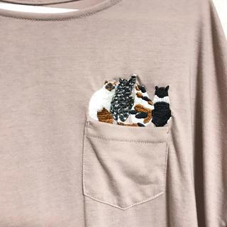 Design Tshirts Store graniph - グラニフ バック ボタン Tシャツ ネコ(フォーキャッツ) レディース