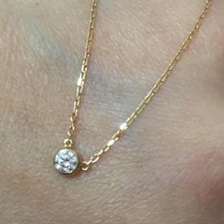 アーカー(AHKAH)の美品 k18 YG 一粒ダイヤ ネックレス ✨ 18金 イエローゴールド(ネックレス)