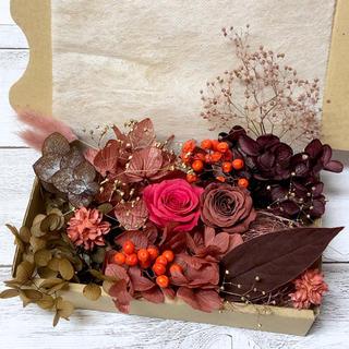 プリザーブドフラワー薔薇2輪★シャイニーレッドとブラウン 花材詰め合わせ