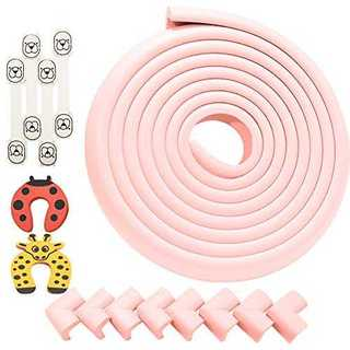 ピンクコーナーガード コーナークッション 全長5ML型8個 両面テープ付き 極厚(コーナーガード)